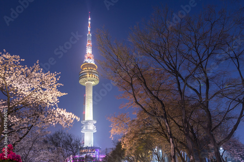 seoul tower in seoul city at night view in spring with cherry blossom tree, south korea Wallpaper Mural