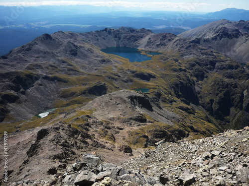Look from Mount Angelus - Angelus lake, Nelson lakes, New Zealand Wallpaper Mural