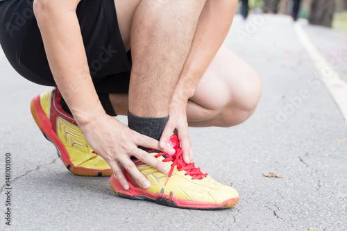 Achilles tendinitis, Sport injury concept Canvas Print
