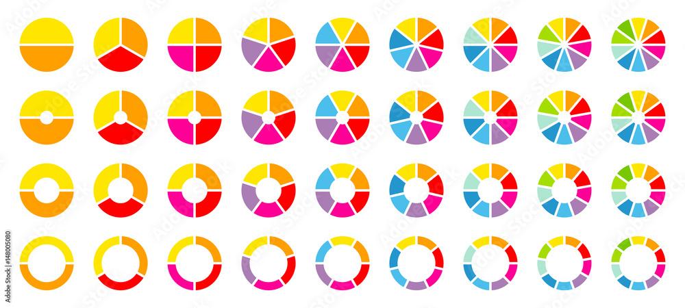 Fototapeta Set Pie Charts Color
