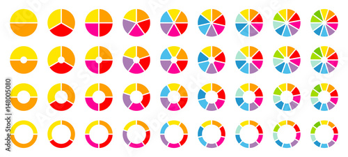 Carta da parati Set Pie Charts Color
