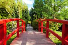 Red Bridge In A Beautiful Japanese Garden
