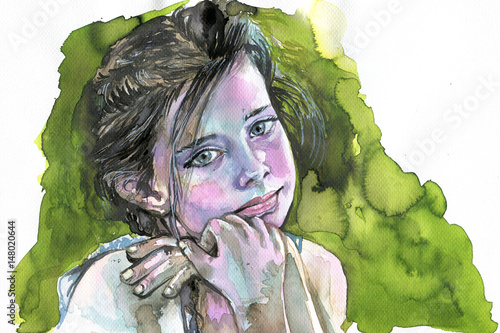 Foto auf AluDibond Aquarelleffekt Inspiration Watercolor portrait of a girl