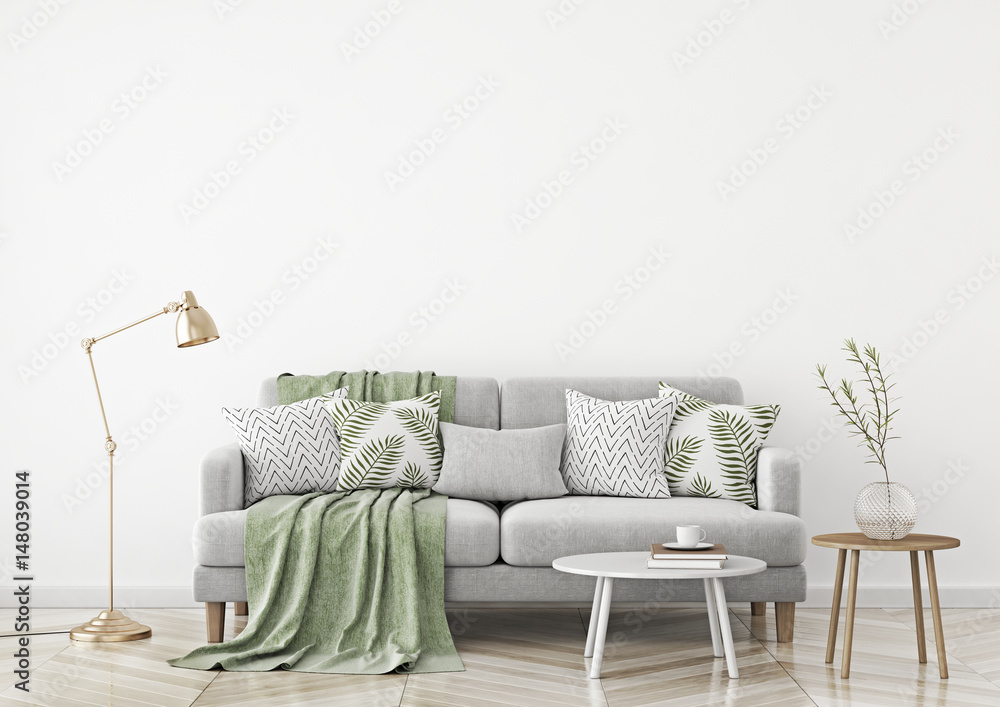 Scandinavian style livingroom with fabric sofa, pillows, plaid, lamp and green plant in vase on white wall background. 3d rendering.