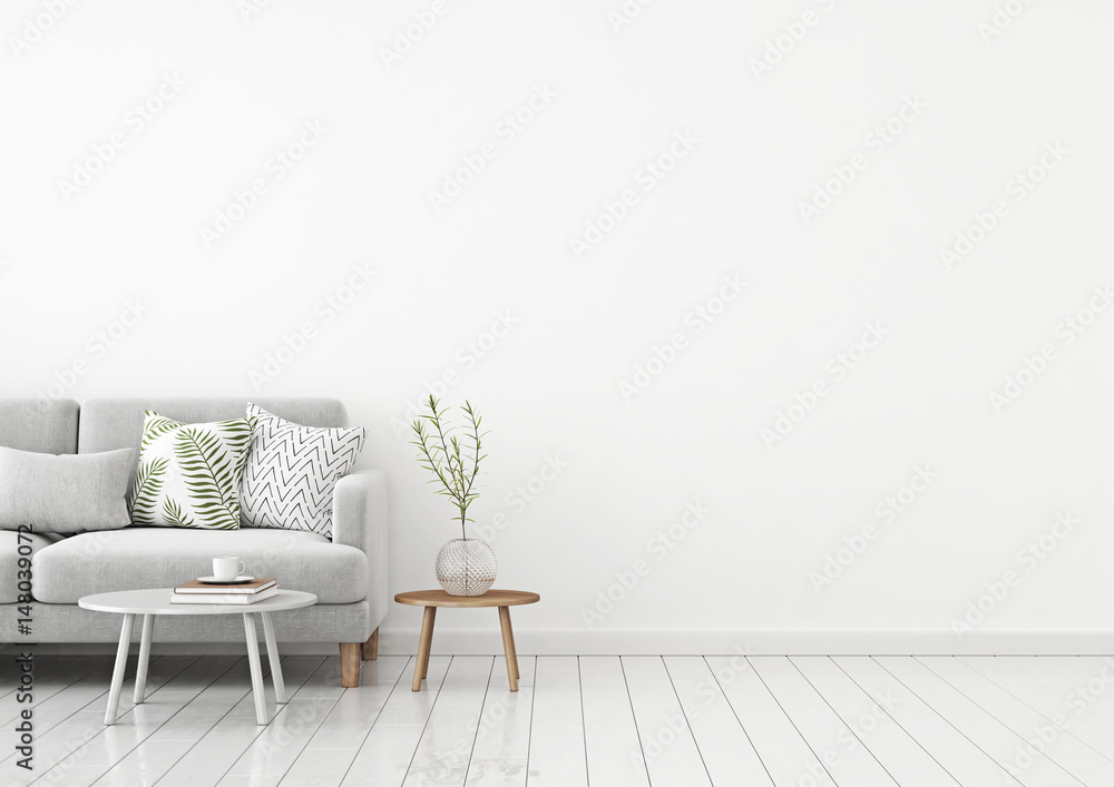 Fototapety, obrazy: Livingroom interior wall mock up with gray fabric sofa and pillows on white background with free space on right. 3d rendering.