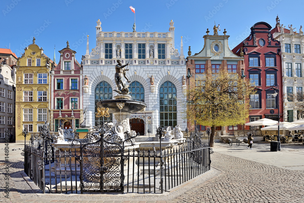 Fototapeta Neptune Fountain in Gdansk