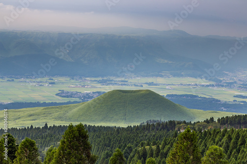 Beautiful landscape of Mount Aso volcano in Kumamoto, Japan Canvas Print