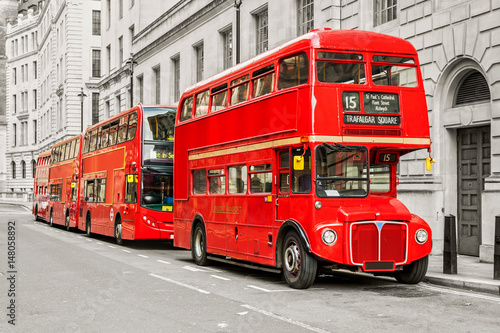 Poster Londres bus rouge Red bus in London