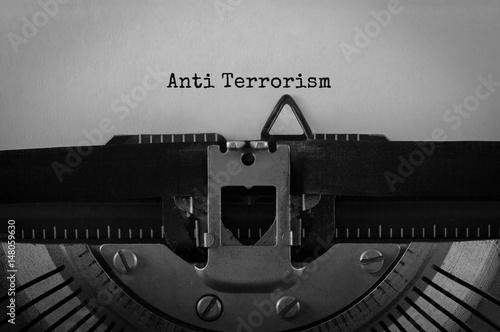 Fotomural Text Anti Terrorism typed on retro typewriter