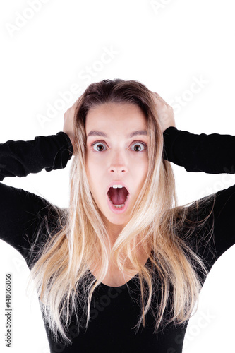 Donna con mani nei capelli, stress o sorpresa - Acquista ...