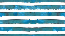 Seamless Pattern With Blue And Green Horizontal Stripes Painted In Watercolor On White Isolated Background