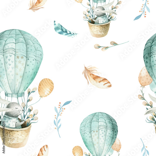 Cotton fabric Cute baby rabbit animal seamless pattern, forest illustration for children clothing. Woodland watercolor Hand drawn boho image for cases design, nursery posters