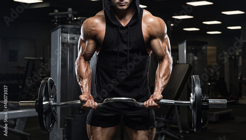 Poster Fitness Brutal strong athletic men pumping up muscles workout bodybuilding concept background - muscular bodybuilder handsome men doing exercises in gym