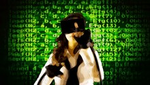 A Cartoonized Girl Wearing A Virtual Reality Headset And Wired Gloves, Interacting With What She Sees: Green Chaotic Messy Lines Of Code Of Computer Programs.