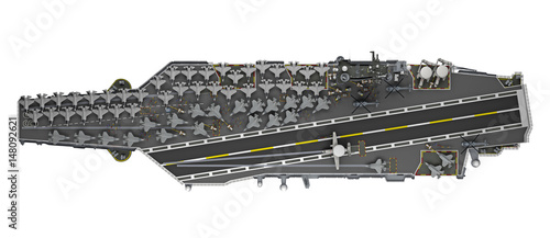 aircraft carrier top view isolated 3d rendering Wallpaper Mural