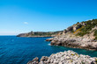 Watchtower near ionian sea (Uluzzo tower in Porto Selvaggio) Apulia, Salento, Italy