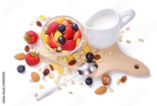 In de dag Buffet, Bar Healthy breakfast with muesli, berries and milk