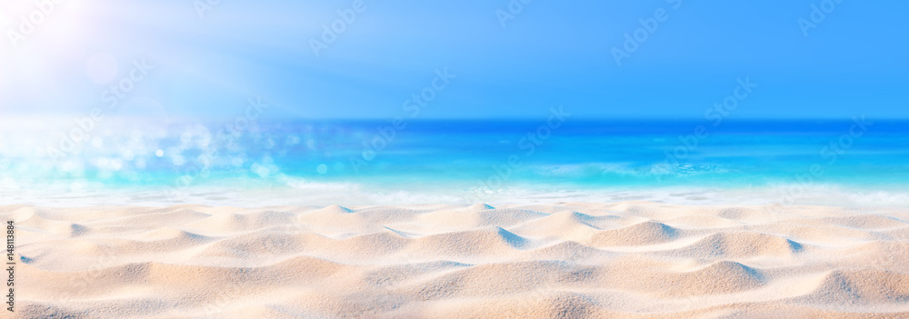 Fototapeta Beach Background - Beautiful Sand And Sea And Sunlight