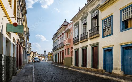 Photo  Street view of Sao Joao del Rei with Nossa Senhora do Carmo Church on backgound