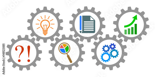 Valokuva  Process of generating ideas, from problem to success - stock vector