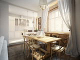Modern Classic Traditional Dining room and White Kitchen - 148126673