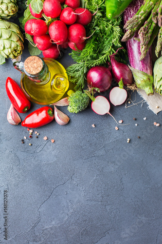 Poster Aromatische Assortment of fresh organic farmer vegetables