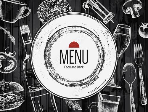 Plakat Wygląd menu restauracji. Wektor menu szablon broszura dla kawiarni, kawiarnia, restauracja, bar. Projektowanie logo symbol żywności i napojów. Z obrazami szkicu