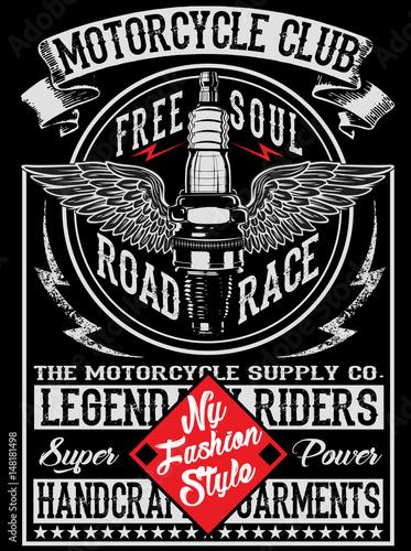 Stampa su Tela Motorcycle label t-shirt design