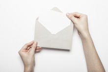 Woman Hand Hold A Envelope Wit...