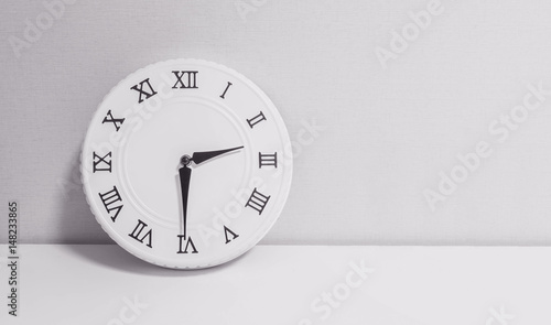 Closeup White Clock For Decorate Show Half Past Two Oclock Or 230