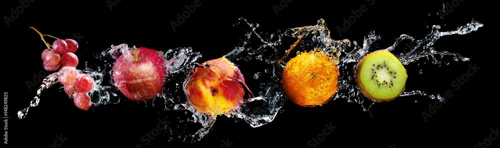 Set of fresh fruits in water splash isolated on black background