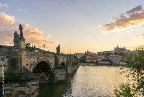 Photo Stands Prague Charles Bridge, Prague at Sunset