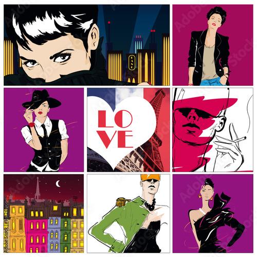 Obraz na płótnie kolaż rysunków z modą