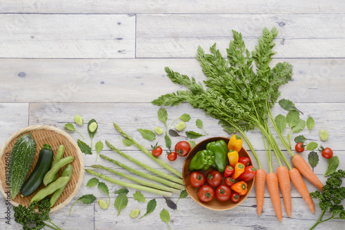 In de dag Groenten 夏野菜 野菜の背景素材 野菜