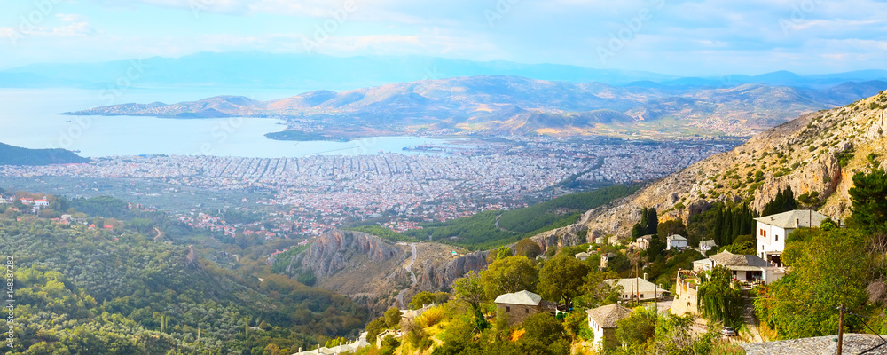 Panoramic banner Volos city and sea gulf aerial view from Makrinitsa, Pelion mount, Greece