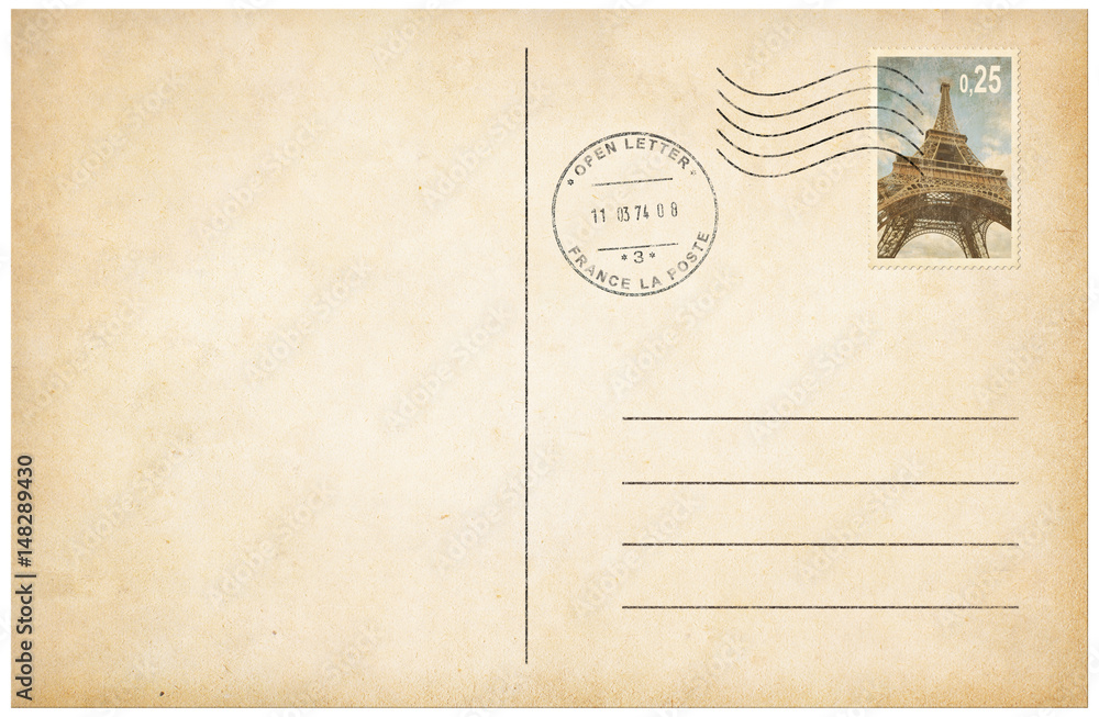 Fototapeta Old style postcard with postage stamp 3d illustration