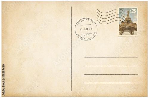 Fototapeta Old style postcard with postage stamp 3d illustration obraz