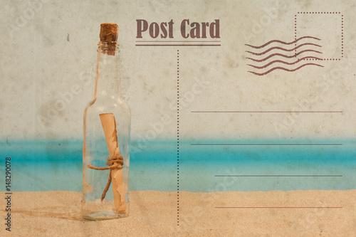 Foto op Plexiglas Retro Vintage summer postcard. Message in the bottle on the beach