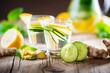 canvas print picture - Detox Getränk aus Ingwer, Zitrone, Gurke, Minze, Melisse - Infused Water - Schlankwasser - Superdrink - Superfood - Powerdrink