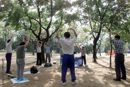 A group of Falun Gong followers practise qigong, a breathing