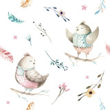 Cute baby bird animal seamless pattern, forest illustration for children clothing. Woodland watercolor Hand drawn boho chiken image for cases design, nursery poster - 148320487