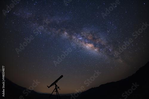 Obraz Telescopes with milky way galaxy, Night sky with stars, Long exposure photograph, with grain. - fototapety do salonu