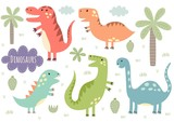 Fototapeta Dinusie - Vector set of cute isolated dinosaurs