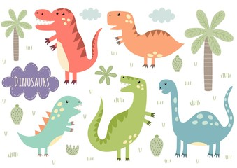 Vector set of cute isolated dinosaurs