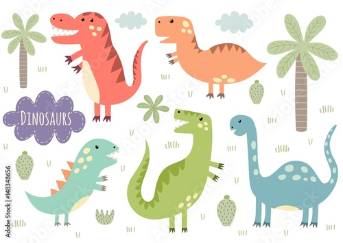 Photo  Vector set of cute isolated dinosaurs