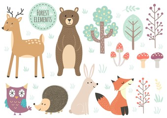 Naklejka Vector set of cute forest elements - animals and trees