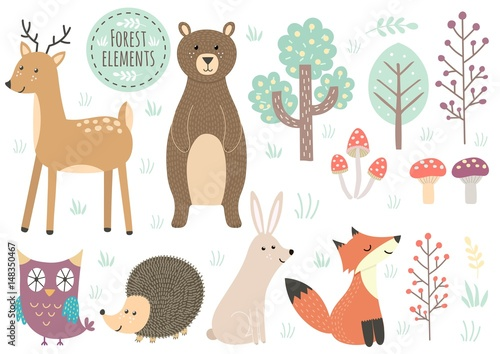 Vector set of cute forest elements - animals and trees © juliyas