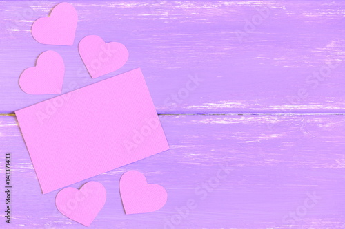 Pink Blank Paper Card Pink Paper Hearts On Wooden Background With