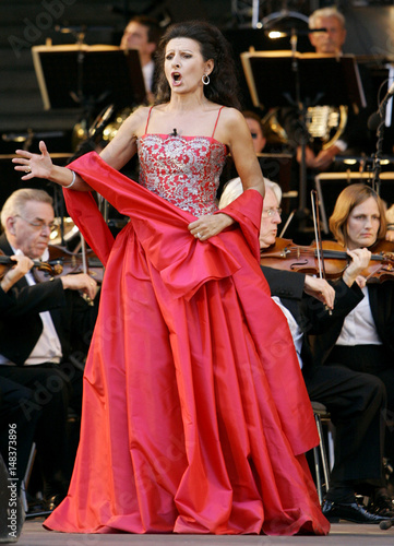 Italian soprano singer Lucia Aliberti performs during an open air