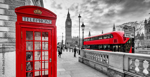 Fotografie, Obraz  London Red Telephone Booth and Big Ben Clock Tower